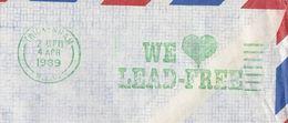 1989 COVER Twickenham LEAD FREE Petrol SLOGAN From SRI LANKA  To GB , Stamps Energy Oil Minerals Olympics Olympic Games - Erdöl