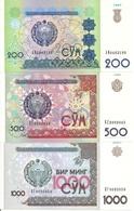 OUZBEKISTAN 200-500-1000 SUM 1997-99-01 UNC P 80-81-82  ( 3 Billets ) - Uzbekistan