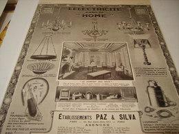 ANCIENNE PUBLICITE ELECTRICITE   PAZ ET SILVA  1913 - Autres