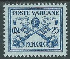 1929 VATICANO CONCILIAZIONE 25 CENT MH * - ED11-3 - Neufs