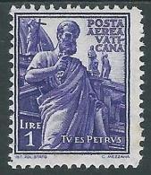 1938 VATICANO POSTA AEREA SOGGETTI VARI 1 LIRA MH * - ED10-10 - Airmail