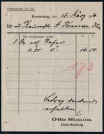 B4597 - Ronneburg - Otto Simon - Eisenwaren - Rechnung Quittung 1920 - Deutschland