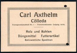 B4598 - Cölleda - Carl Axthelm - Holz Kohlen Düngemittel Futterartikel  - Rechnung Quittung 1917 - Germany
