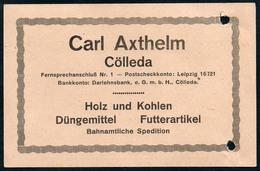B4599 - Cölleda - Carl Axthelm - Holz Kohlen Düngemittel Futterartikel  - Rechnung Quittung 1919 - Deutschland
