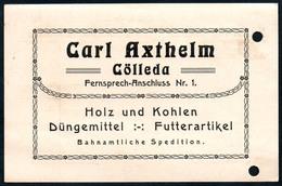 B4600 - Cölleda - Carl Axthelm - Holz Kohlen Düngemittel Futterartikel  - Rechnung Quittung 1919 - Deutschland
