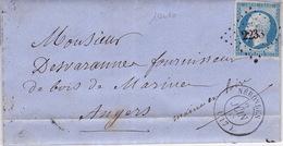 19010# CHER NAPOLEON N°14 LETTRE Obl NERONDES 1858 T15 - Marcophilie (Lettres)