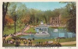 Band Playing National Anthem, City Park, Saratoga Springs, New York, USA Vintage Unused - Saratoga Springs