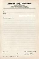 B4609 - Falkenau - Arthur Opp - Rechnung Quittung BLANKO - Deutschland