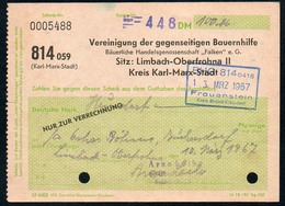B4610 - Bauernhilfe Limbach Oberfrohna Kr. Karl Marx Stadt - Rechnung Quittung - Deutschland