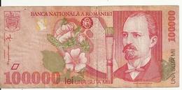 ROUMANIE 100000 LEI 1998 VG+ P 110 - Roumanie