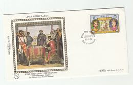 1982 JERSEY Special SILK FDC  SIEGE Of ROUEN KING JOHN PHILLIPE AUGUSTE Heraldic Cover Stamps Royalty - Royalties, Royals