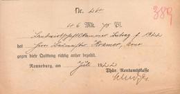 B4612 - Ronneburg - Rentamtkasse - Rechnung Quittung - 1922 - Deutschland