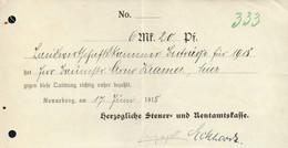 B4613 - Ronneburg - Rentamtkasse - Rechnung Quittung - 1918 - Germany