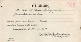 B4614 - Ronneburg - Stadtkasse - Rechnung Quittung - 1921 - Germany