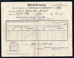 3499 - Reinholdshain - Quittungskarte Quittung - Landesversicherungsanstalt Sachsen - Versicherung Stempel 1914 - Germany