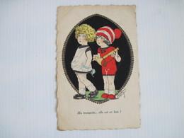 CPA  Humour Ma Trompette Elle Est En Bois Enfants 2 Fillettes Signée   1931 T.B.E. - Autres Illustrateurs