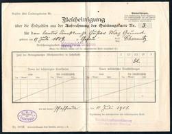 3430 - Pfaffenroda - Quittungskarte Quittung - Landesversicherungsanstalt Sachsen - Versicherung Stempel 1908 - Deutschland