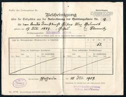 3435 - Pfaffenroda - Quittungskarte Quittung - Landesversicherungsanstalt Sachsen - Versicherung Stempel 1909 - Germany