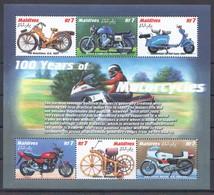D580 MALDIVES TRANSPORTATION 100 YEARS OF MOTORCYCLES 1KB MNH - Motorräder