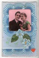 22172-LE-FANTAISIE-Carte Composée-rubans-photo D' Un Couple-----------double Volet Et Enveloppe - Brodées