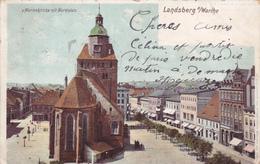 POLOGNE,POLSKA,POCZTA,LAN DSBERG A WARTHE EN 1903,CATHEDRALE SAINTE MARIE,CITY,GORZOW WIELKOPOLSKI - Pologne