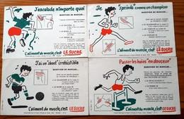 4 Buvards Différents  Années 50 - LE SUCRE - ALIMENT DU MUSCLE - Foot, Haies,sprint,escalade - CENTRE D'ETUDES DU MUSCLE - Cake & Candy