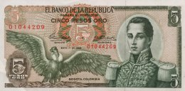 Colombia 5 Pesos Oro, P-406a 1963 UNC - Kolumbien