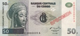 Congo Democratic Republic 50 Francs, P-89s 1997 Specimen UNC - Democratic Republic Of The Congo & Zaire