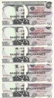 MOZAMBIQUE 50 ESCUDOS 1970 UNC P 116 ( 5 Billets ) - Mozambique