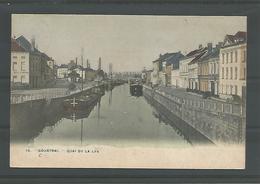 Oude Pk. Courtrai. Quai De La Lys 1908 In Kleur - Kortrijk
