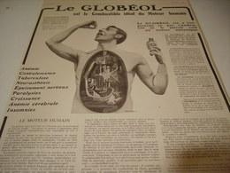 ANCIENNE PUBLICITE MEDICAMENT LE GLOBEOL MOTEUR HUMAIN  1913 - Other