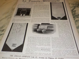 ANCIENNE PUBLICITE PIANOLA-METROSTYLE DE THE AEOLIAN COMPAGNY  1904 - Other
