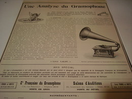 ANCIENNE PUBLICITE UNE ANALYSE DU  GRAMOPHONE   1904 - Other