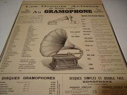 ANCIENNE PUBLICITE LES GRAND ARTISTE AU   GRAMOPHONE   1905 - Other