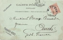"""CARTE ENVOYEE DE """"WAREMME (B) """" A """" AUCH (32 F) """" Pour Commande De Graines . AFFR LE 9/11/1895 .. 2 SCANES - Ansichtskarten"""