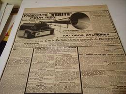 ANCIENNE PUBLICITE  PHONOGRAPHE VERITE POUR RIEN PATHE FRERE   1904 - Other