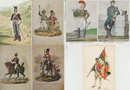 1 - Costumes Militaires France - British - Swiss - 7 Vues. - Uniforms