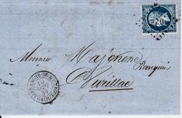 MARQUE POSTALE  LAC DE VILLEFRANCHE DE ROUERGUE  10 SEPT 1859 - Marcophilie (Lettres)