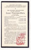 DP EZ Ida Van Espen - Zr. Francisca Maria ° Nieuwrode Holsbeek 1864 † Chenois Waterloo 1937 / Klooster Itterbeek Dilbeek - Devotion Images