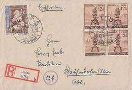 DR R-Brief Mif Minr.823 4x 886  4er Block SST Fulda 12.3.44 - Briefe U. Dokumente