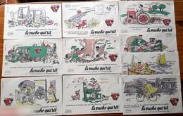 Série Complète De 10 Buvards Années 50 - LA VACHE QUI RIT - Illustrés Par HERVE BAILLE -  SERIE LES METIERS - Produits Laitiers