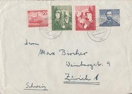 Bund Brief Mif Minr.150,152,153,154 Hamburg 4.2.53 Gel. In Schweiz - BRD