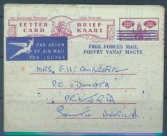 SOUTH AFRIKA  - 19?? - LETTER CARD BRIEF KAART  -  FREE FORCES MAIL  - Lot 17080 - Non Classés