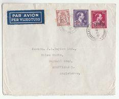 1946 Air Mail BELGIUM COVER  Stamps HERALDIC LION ,  Leopald OVPT , Airmail Label - Belgium