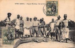 CPA RIVER GAMBIA ALLIGATOR SHOOTING A FINE SPECIMEN - Gambia