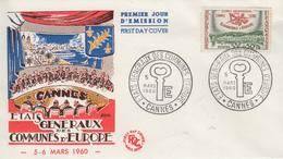 Enveloppe  FDC  1er  Jour   FRANCE   Etats  Généraux  Des  Communes  D' Europe   CANNES   1960 - 1960-1969