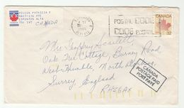 1985 Air Mail CANADA COVER 32c Stamps ADDITIONAL 'CANADA POSTAGE PAID' Post Marking To GB - 1952-.... Règne D'Elizabeth II