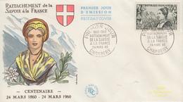 Enveloppe  FDC 1er  Jour   FRANCE  Rattachement  De  La  SAVOIE  à  La  FRANCE   CHAMBERY  1960 - 1960-1969