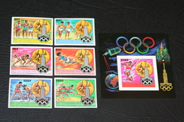 Central African Republic  25.07.1980 Mi # 679-84 B Bl 81 B, Moscow Summer Olympics, IMPERF MNH OG - Verano 1980: Moscu