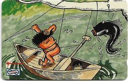 Malaysia (Uniphonekad) - Fishing, Cartoons, 7MSAD, 1991, 250.000ex, Used - Malaysia